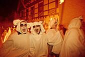 Geisterzug, ghost procession held on the Saturday before carnival to drive away the winter demons, Blankenheim, Eifel, North Rhine Westphalia, Germany