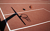 Ball, Balls, Basket, Basketball, Baskets, Color, Colour, Concept, Concepts, Contemporary, Court, Courts, Daytime, Exterior, Leisure, Outdoor, Outdoors, Outside, Play, Playing, Recreation, Shadow, Shadows, Sport, Sports, S73-662776, agefotostock