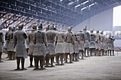 The terracotta army under restoration, Xi'an city area. Shaanxi province, China