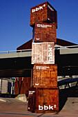 Basque Country, Bilbao, Bilbo, Biscay, Bizkaia, Cargo container, Cargo containers, Color, Colour, Daytime, Dock, Docks, Europe, Euskadi, Euskal Herria, Exterior, Harbor, Harbors, Harbour, Harbours, Heap, Heaped, Load, Many, Maritime Museum, Museum, Museum