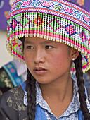 Hmong girl with headdress, Luang Prabang, Laos