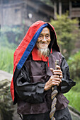 Red Yao village headman with traditional clothing near Guilin, China