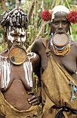 The Surma tribe kept their traditions alive all the way to the 21st century: Surma women are known for wearing the clay / wood plate streaching their lower lip, Ethiopia