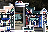Ndebele, house, with, traditional, artwork, KwaNdebele, South, Africa
