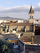 Side view from Santa Bárbara of Santa María church. Villena (Alicante). Spain