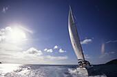 Hayman Luxury Yacht Serenade sailing near Hayman Island Resort, Whitsunday Islands, Queensland, Australia