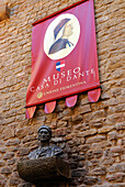 Bust and advertisement sign at the museum Casa di Dante, Florence, Tuscany, Italy, Europe