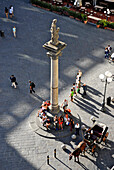 People, column and horse-drawn carriage at the Piazza della Republica, Florence, Tuscany, Italy, Europe