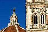 Cupola of Duomo and windows of Campanile, Florence, Tuscany, Italy, Europe