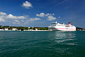 Cruise ship coming into the Mao harbour, Port Mahon, Minorca, Balearic Islands, Spain
