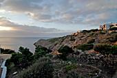 Cala Morell, villas in the evening light, Minorca, Balearic Islands, Spain