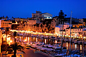 Marina and town hall at Ciutadella shortly after sunset, Minorca, Balearic Islands, Spain