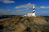 Lighthouse and rocky coast at Cap de Favaritx, Minorca, Balearic Islands, Spain
