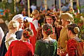 Dance group from Riga at the mediaeval market, Tallinn, Estonia