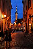 Raekoja Plats, town hall square in the late evening in summer, just before midnight, Tallinn, Estonia