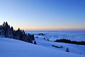 Snow-covered alpine hut above fog bank at dusk, Kampenwand, Chiemgau Alps, Chiemgau, Bavaria, Germany