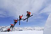 Skier freeriding, ski area Soelden, Oetztal, Tyrol, Austria
