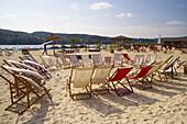 Beach chairs at lakeside, lake Baldeneysee, Essen, Ruhr area, North Rhine-Westphalia, Germany
