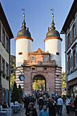 Pedestrian area, Steingasse and Bridge Gate, Old Town, Heidelberg, Baden-Wuerttemberg, Germany