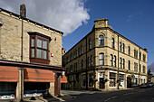 Hebden Bridge, Hope Street, typical buildings, West Yorkshire, UK