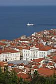 Piran, old town peninsula, italian style, Tartini Square, Court House, Town Hall, Gulf of Piran, Adriatic sea, Slovenia