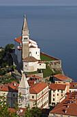 Piran, old town peninsula, italian style, St Georges Church, Belfry, Baptistry, St Franciss Church, Gulf of Piran, Adriatic sea, Slovenia