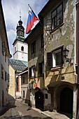 Skofja Loka, Church of St James, late-Gothic, 1471, old town houses, Slovenia