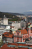 Ljubljana, City Center, from Ljubljana Castle, Franciscan Church of the Annunciation, Julian Alps, Slovenia