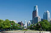 Downtown skyline benjamin franklin parkway  Philadelphia  Pennsylvania  USA