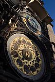 Astronomical clockface old town hall staromestske namesti. Prague. Czech Republic.