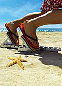 Advantage, Athletics, beach, beaches, Close up, Close-up, Closeup, Color, Colour, Concept, Concepts, detail, details, Feet, Flip flop, Flip flops, Flip-flop, Flip-flops, Foot, Footgear, Footwear, holiday, holidays, human, Hurry, Leisure, One, One person,