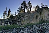 Columnar Basalt rock formation at, Devils Postpile National Monument Eastern Sierra, CALIFORNIA