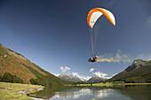 Paraglider, Diamond Lake, Paradise, near Glenorchy, Queenstown Region, South Island, New Zealand