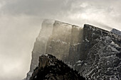 Snow blowing off Mt Rundle