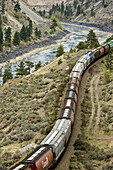Thompson River canyon and freight train