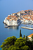 Views of the old city of Dubrovnik from an elevation position