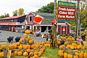 McSherrys Orchard with pumpkins and fall decor in Conway, New Hampshire, USA
