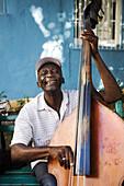 A street musician in Santiago de Cuba, Cuba.