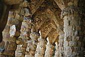 Spain, Barcelona, Parque Guell, arcade by Gaudi