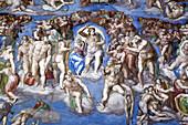 Detail of Michelangelo's 'Last Judgement', Rome, Italy
