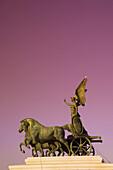 Statue of Goddess Victory, Vittorio Emmanuele II Monument Il Vittoriano, Rome, Italy (sunset filter)