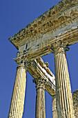 Tunisia, near Dougga, Roman Ruins, the Capitol of Dougga, highlighting the massive columns of the Corinthian order