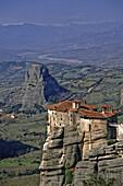 Greece, Meteora, Monastery of Agios Nikolaos Anapafsas on a high rock tower