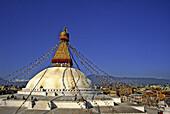 Nepal, Kathmandu, the Bodhnath Stupa.