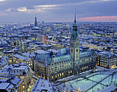 Germany, Hamburg, town hall and city with evening light in wintertime