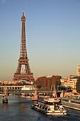 France, Paris, Eiffel Tower, Seine River sightseeing boat