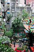 View at the courtyard of buddhistic Tien-ho Temple, Ximending district, Taipei, Taiwan, Asia
