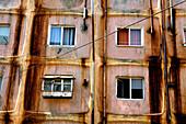 Windows with curtains at an appartment building, Taranesti, Transylvania, Romania, Europe