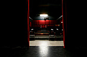 Curtain at a theater with a view at the stage, Pasinger Fabrik, Munich, Bavaria, Germany, Europe