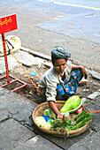 Street vendor selling vegetables, Rangoon, Myanmar, Burma, Asia